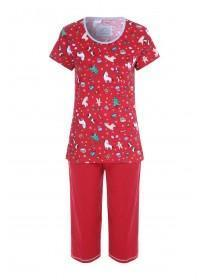 Womens Red Christmas Pyjama Set