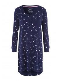 Womens Navy Star Long Sleeve Nightshirt