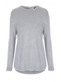 Womens Grey Zip Back Jumper