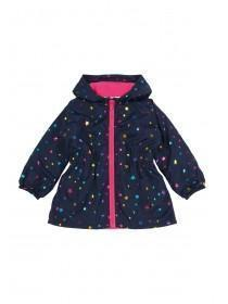 Younger Girls Navy Star Fleece Lined Cagoule Jacket