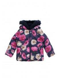 Younger Girls Blue Floral Padded Coat