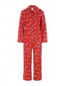 Womens Red Sausage Dog Pyjama Set