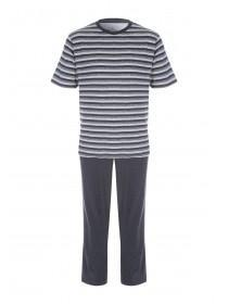 Mens Grey Stripe Pyjama Set