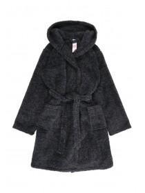 Boys Black Sherpa Dressing Gown