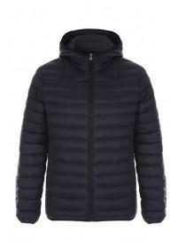 Mens Black Hooded Padded Jacket