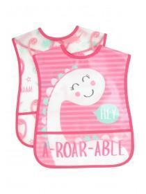 Baby Girls 2pk Pink Dinosaur Bibs
