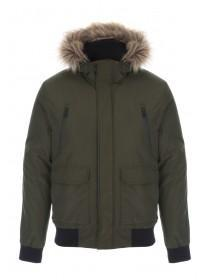 Mens Khaki Short Parka Coat