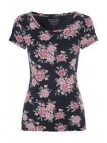 Womens Navy Floral T-Shirt