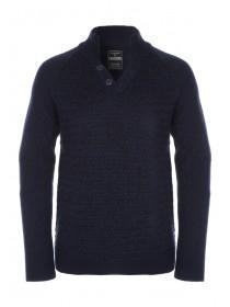 Mens Navy Funnel Neck Jumper