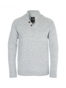 Mens Light Grey Funnel Neck Jumper