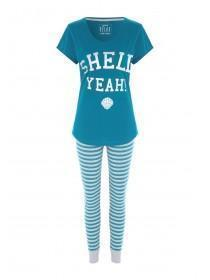 Womens Teal Shell Slogan Pyjama Set