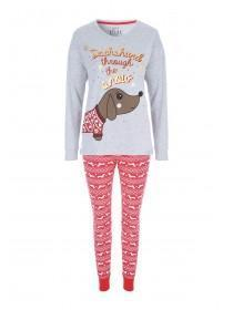Womens Grey Sausage Dog Pyjama Set