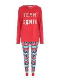 Womens Red Team Santa Slogan Pyjama Set