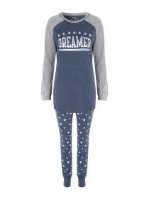 Womens Blue Slogan Pyjama Set