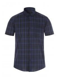 Mens Dark Blue Short Sleeve Check Shirt
