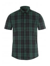 Mens Dark Green Short Sleeve Check Shirt