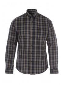 Mens Grey Check Long Sleeve Shirt