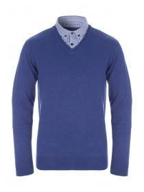 Mens Blue Mock Shirt V-Neck Jumper