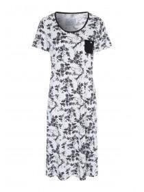 Womens Monochrome Floral Long Nightdress