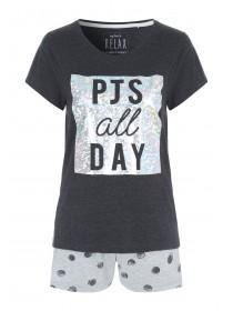 Womens Grey Slogan Top and Shorts Pyjama Set