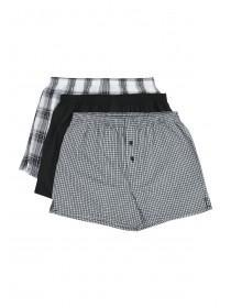 Mens 3pk Grey Check Loose Fit Boxers