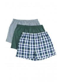 Mens 3pk Green Check Loose Fit Boxers