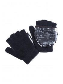 Older Girls Black Sequin Pop Over Gloves