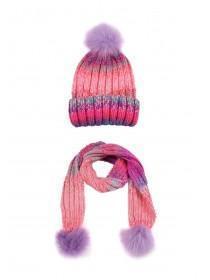 Older Girls Pink Pom Hat and Scarf Set