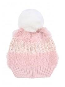 Younger Girls Pink Mixed Knit Hat