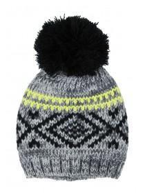 Older Boys Grey Neon Stripe Hat