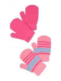 Younger Girls 2pk Pink Stripe Mittens