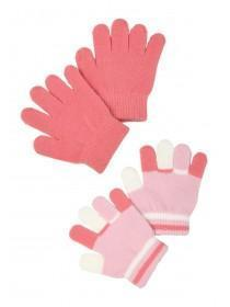 Younger Girls 2pk Pink Gloves