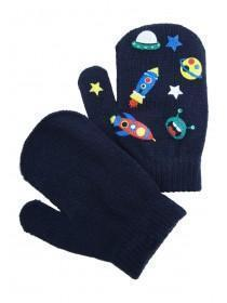 Younger Boys Navy Space Gripper Mittens