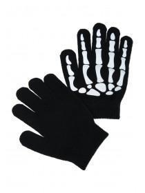 Older Boys Black Skeleton Gripper Gloves