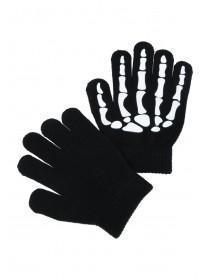 Younger Boys Black Skeleton Gripper Gloves
