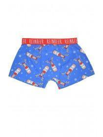 Mens Blue Novelty Reinbeer Boxers