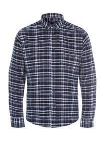 Mens Blue Check Flannel Long Sleeve Shirt