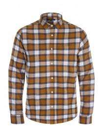 Mens Mustard Check Flannel Long Sleeve Shirt