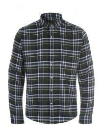 Mens Dark Green Check Flannel Long Sleeve Shirt