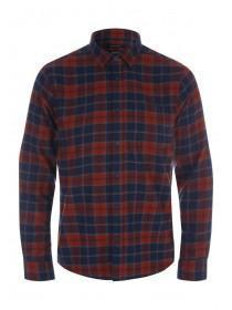 Mens Orange Check Flannel Long Sleeve Shirt