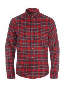 Mens Red Tartan Flannel Long Sleeve Shirt
