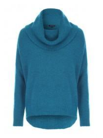 Womens Teal Cowl Neck Jumper