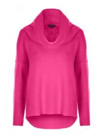 Womens Hot Pink Cowl Neck Jumper