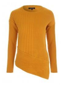 Womens Mustard Asymmetric Jumper