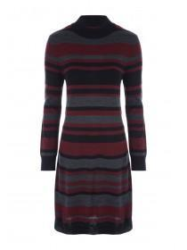 Womens Black Stripe Knitted Dress