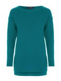 Womens Teal Button Side Jumper