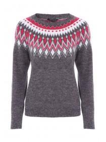 Womens Grey Fairisle Jumper