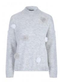 Womens Grey Pom Jumper