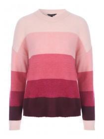 Womens Pink Stripe Chunky Jumper