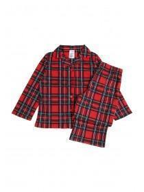 Girls Red Tartan Pyjama Set